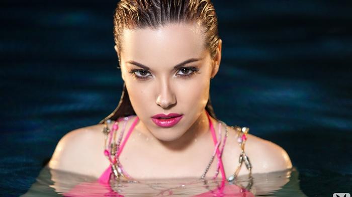 brunette, water, swimming, pink bikinis, face, wet, girl, Playboy, bikini, swimming pool, Elizabeth Marxs