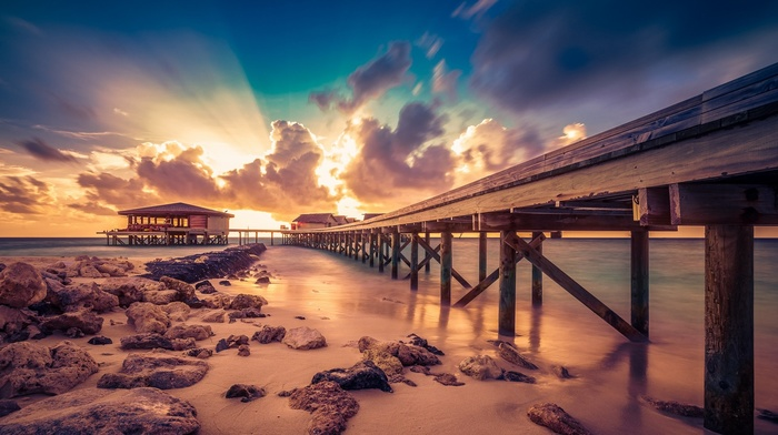 rock, sand, coast, long exposure, Maldives, nature, landscape, sunset, beach, sky, sun rays, sea, island, clouds, resort, pier