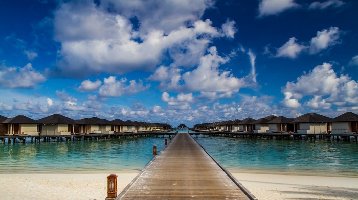 sea, nature, landscape, tropical, Maldives, path, summer, resort, walkway, beach, clouds, sky, Vacations, sand
