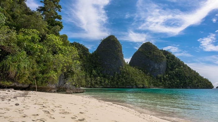 summer, sea, Raja Ampat, sand, beach, landscape, tropical, island, trees, foliage, clouds, Indonesia, nature