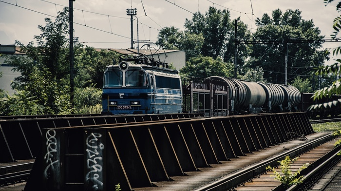 Pripyat, muted, train station, trees, Ukraine, rail yard, graffiti, old, train, rust, railway, HDR