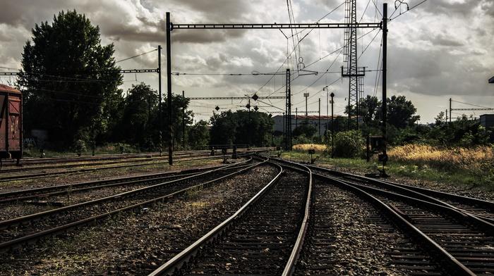 Ukraine, rail yard, old, rust, clouds, ground, sky, railway, Pripyat, train, car, overcast