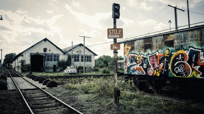 graffiti, old, sky, nature, car, ground, rust, train station, abandoned, Pripyat, rail yard, Ukraine, railway, train, old car, muted, clouds
