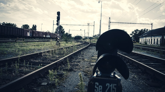 abandoned, rust, train, train station, old, Pripyat, ground, rail yard, clouds, railway, muted, Ukraine