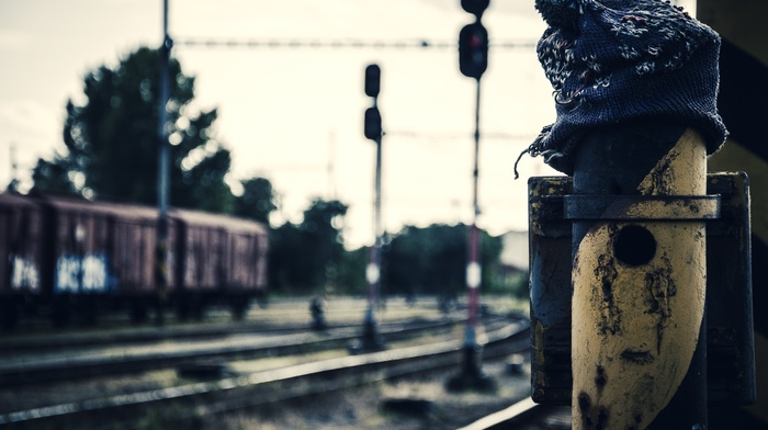 rust, hat, Ukraine, depth of field, woolly hat, train, Pripyat, rail yard, old, train station