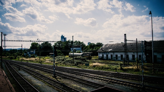 rail yard, sky, train, train station, HDR, Pripyat, clouds, ruin, abandoned, railway, Ukraine, old, ground