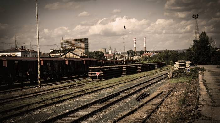 train, abandoned, railway, clouds, train station, old, muted, Ukraine, sky, Pripyat, rail yard