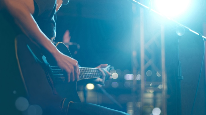 musical instrument, guitar, playing, microphones, lights