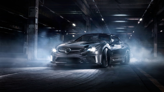 street, night, car, tuning, Carlsson, Mercedes, Benz SL65 AMG Black Series, mist