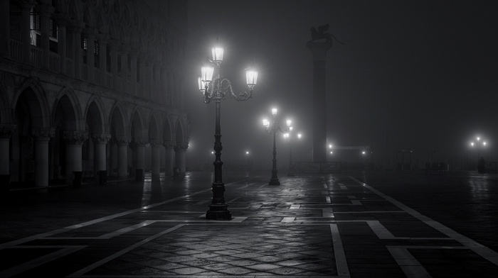 night, old building, Venice, monochrome, Italy, lights, architecture, town square, street light, building, Europe