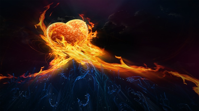 hearts, dark background, arms up, fire, digital art