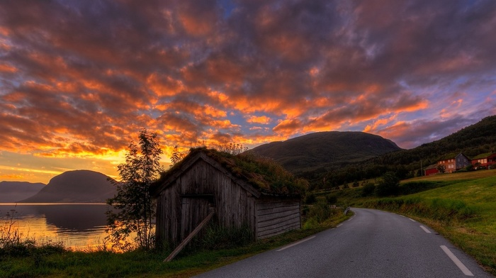 grass, clouds, hut, nature, road, Norway, sky, lake, sunrise, summer, mountain, landscape