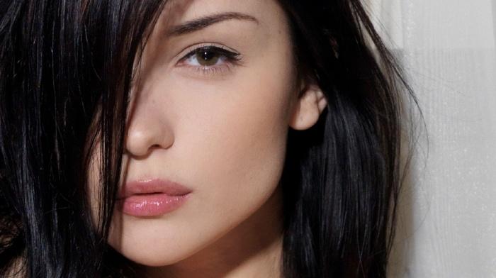 eyes, face, lips, brunette, looking at viewer, closeup, long hair, brown eyes, hair in face, black hair, model, Katie Fey, girl