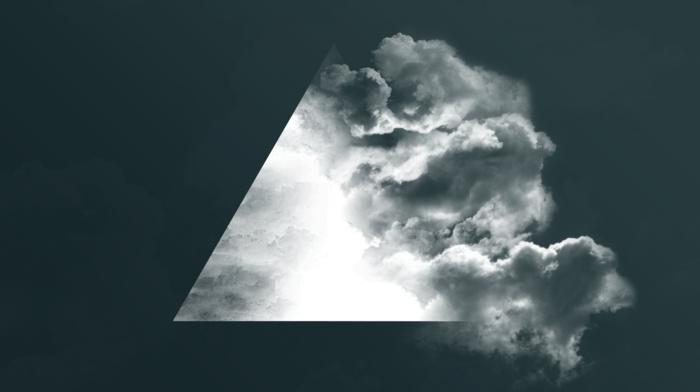 geometry, digital art, simple background, clouds, monochrome, triangle, minimalism