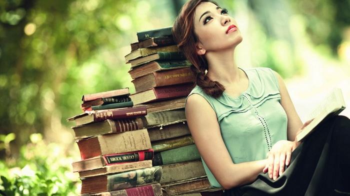 long hair, skirt, books, sitting, model, girl, braids, red lipstick, nature, girl outdoors, Asian, trees, brunette, looking up