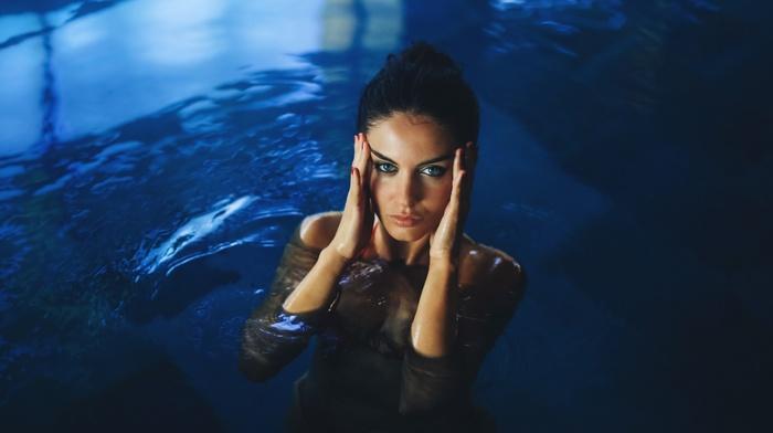 girl, brunette, blue eyes, Aurela Skandaj, swimming, bikini, swimming pool, wet body