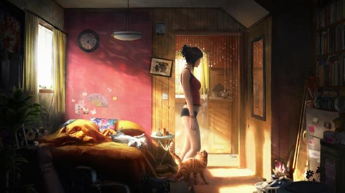 flowers, lamps, picture frames, clocks, window, bed, table, door, cat, room, kitchen, radio