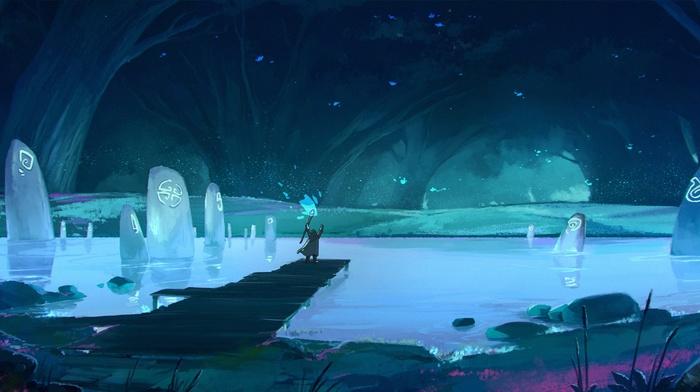 magic, fantasy art, blue, pond, cave