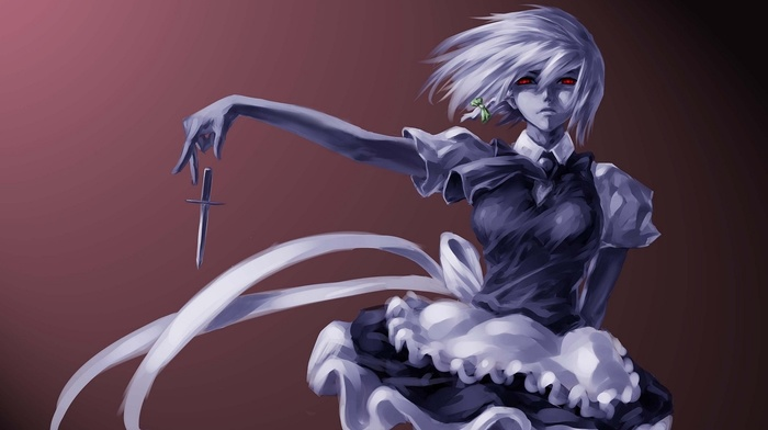 knife, Izayoi Sakuya, digital art, anime, maid, touhou, anime girls