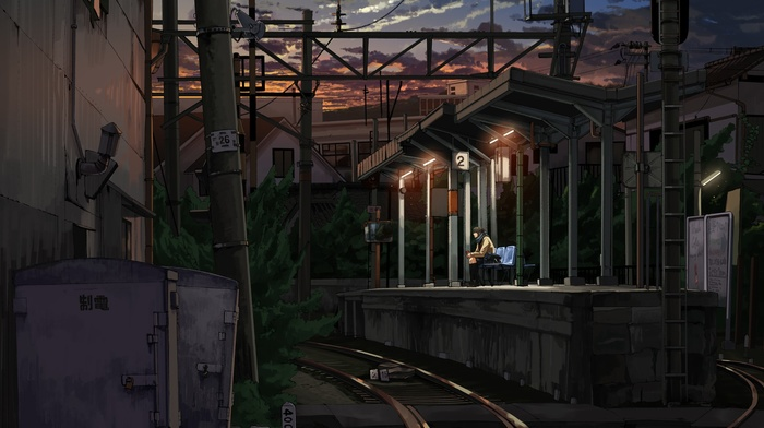 train station, anime girls, night