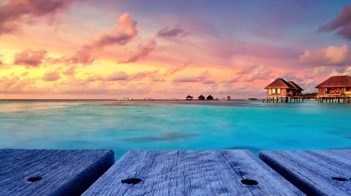 clouds, bungalow, beach, water, island, pier, sky, resort, Maldives, turquoise, landscape, sunset, tropical, walkway, nature
