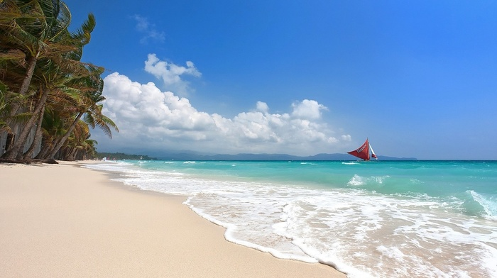 island, Philippines, beach, tropical, sand, summer, palm trees, sea, sailboats, Boracay, landscape, nature, white, clouds