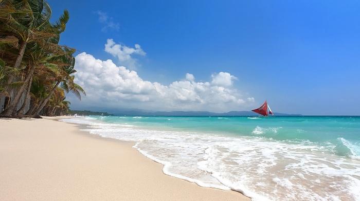island, Philippines, beach, tropical, sand, summer, palm trees, sea, sailboats, Boracay, landscape, nature, white, clouds