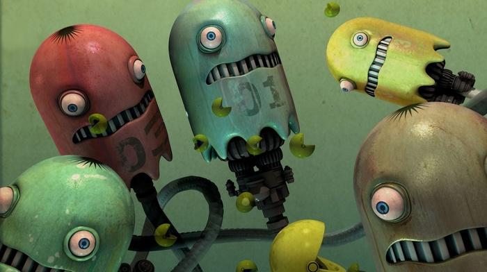 video games, numbers, Pacman, 3D, digital art, fan art, CGI, Pac, man