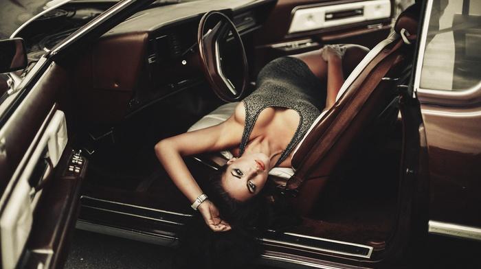 brown eyes, sideboob, old car, Evgeniy Reshetov, model, minidress, juicy lips, girl, brunette