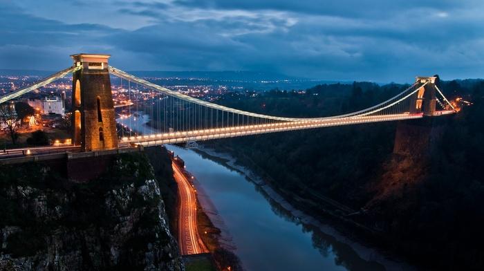 clouds, nature, Bristol, cityscape, road, trees, rock, England, architecture, evening, hill, river, UK, urban, lights, city, light trails, forest, house, bridge, long exposure, building