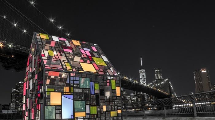 glass, artwork, colorful, New York City, night, architecture, Brooklyn Bridge, Brooklyn, cityscape, skyscraper, USA, urban, bridge, building, lights, house
