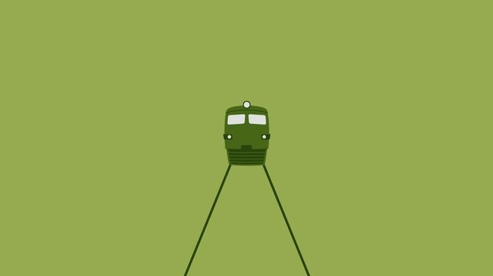 CGI, train, digital art, green background, lines, simple background, diesel locomotives, railway, lights, minimalism