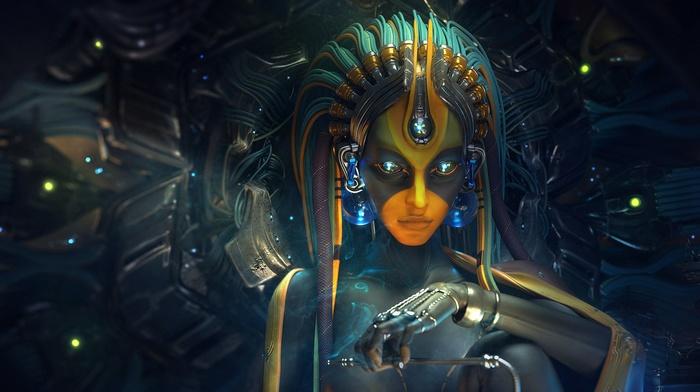 hand, digital art, futuristic, artwork, glowing, cyborg, headband, girl, androids, face, wires