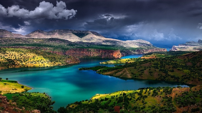 nature, shrubs, river, mountain, Turkey, landscape, water, grass, turquoise, Euphrates, clouds