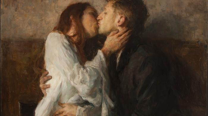 kissing, couple, tea, classic art, painting