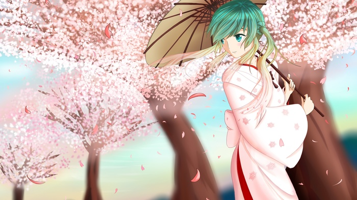 anime girls, Sakura Miku, Hatsune Miku, anime, Japanese umbrella, Vocaloid
