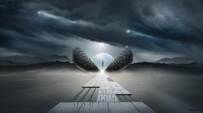 fantasy art, concept art, science fiction, surreal, artwork, giant, aliens