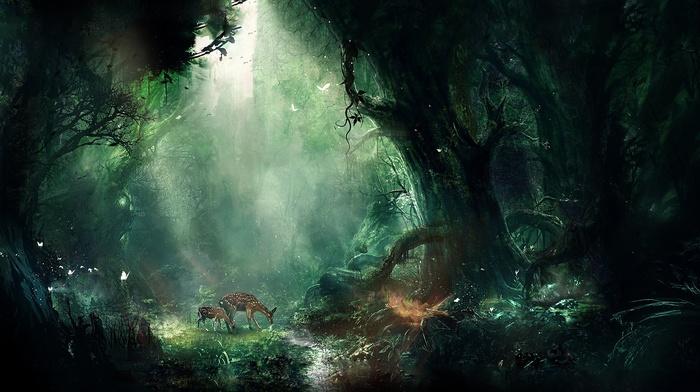 fantasy art, animals, forest, trees, artwork, deer, Bambi