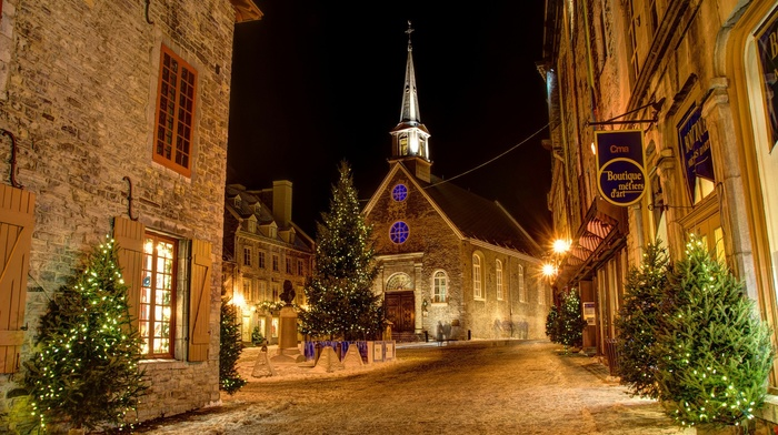 night, trees, Christmas, Christianity, snow, building, christmas lights, Quebec, street, window, town, winter, history, house, Canada, tower, church, lights, old building, Christmas tree, city, long exposure, architecture