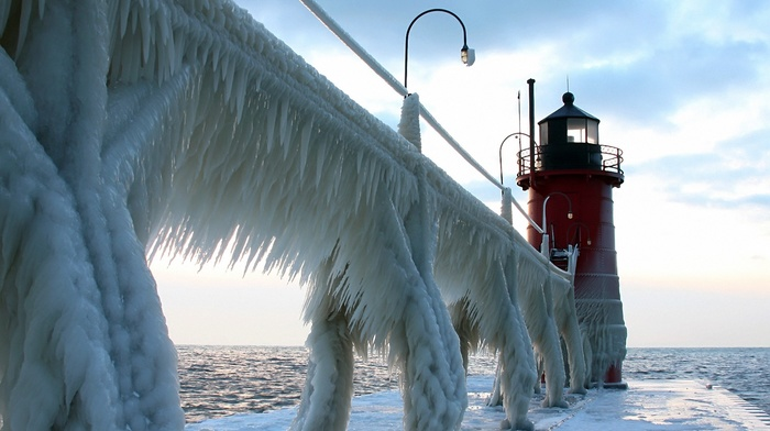 lighthouse, ice