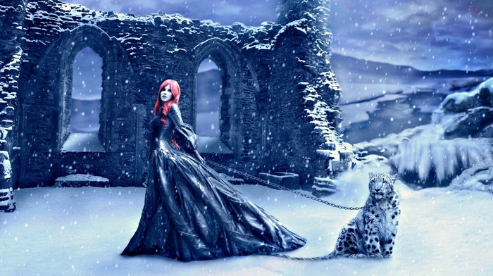 girl, winter, fantasy art, artwork, snow, redhead, dress, ruins, selective coloring, ruin, snow leopards, leopard