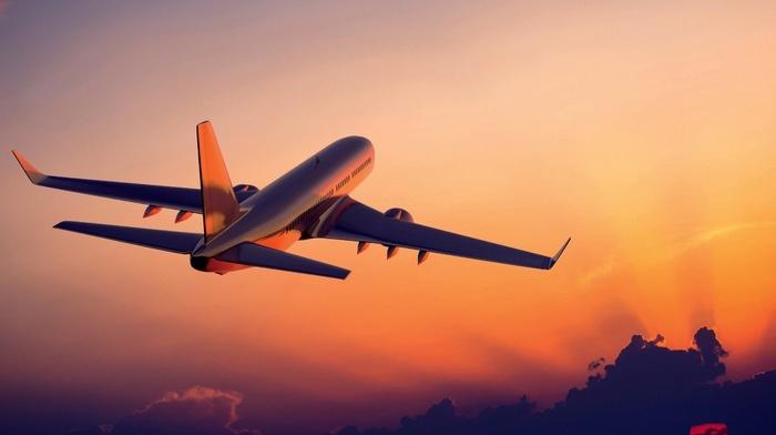sunset, passenger aircraft, aircraft, clouds, airplane