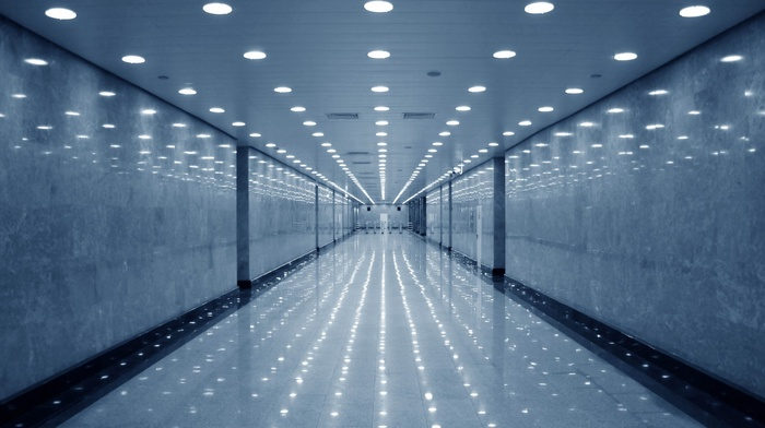 walls, building, reflection, modern, hallway, empty, indoors, lights, architecture