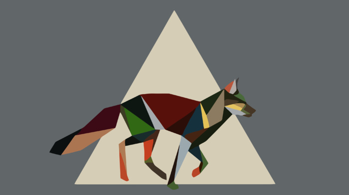 fox, nature, low poly, minimalism, triangle, artwork, animals, tail, colorful, geometry, simple background