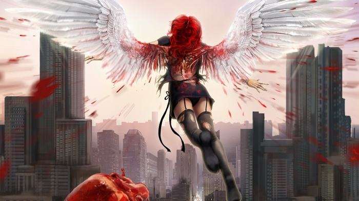 fantasy art, building, redhead, skyscraper, digital art, rear view, flying, hearts, city, girl, cityscape, panties, stockings, miniskirt, wings, blood, wounds, angel