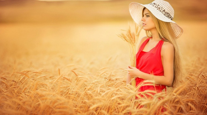 long hair, wheat, hat, girl, blonde, red dress, dress, girl outdoors, farm, plants