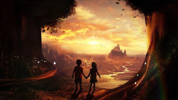 landscape, trees, holding hands, river, children, rainbows, castle, butterfly, fantasy art