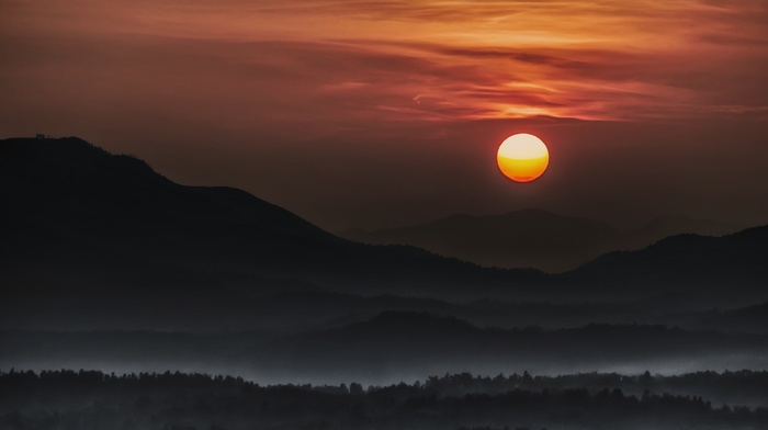landscape, sky, clouds, dark, nature, mountain, forest, moon, moonlight, atmosphere, mist