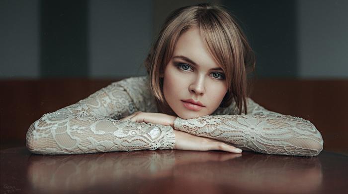 girl, model, juicy lips, hazel eyes, Anastasia Scheglova, portrait, Georgiy Chernyadyev, looking at viewer
