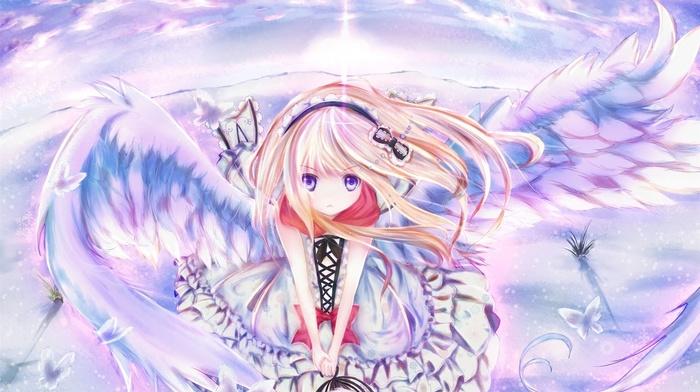 angel, anime girls, blonde, original characters, anime, wings